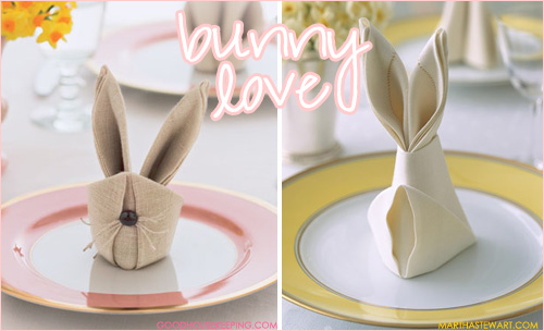 Bunny Love: Bunny Shaped Napkins - MarthaStewart.com and GoodHousekeeping.com