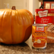 Start with one box of Duncan Hines Spice cake mix and one 15 oz. can of 100% pumpkin puree.